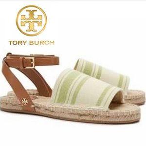 NWOT Tory Burch Striped Espadrille Olive Sandals